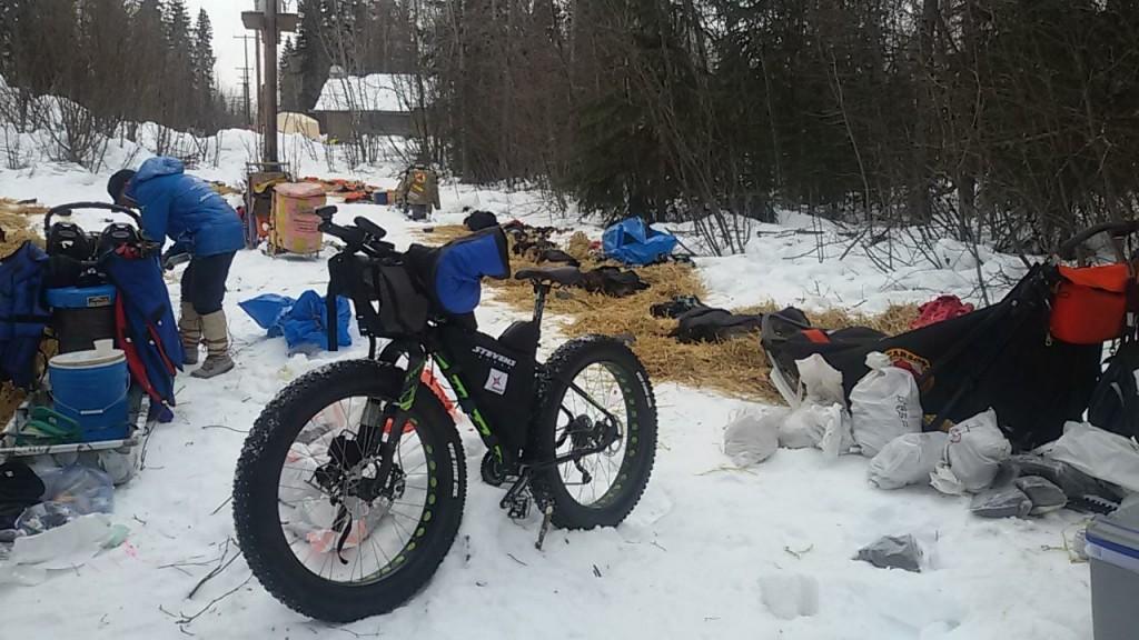 Mi fat bike junto con los perros de la Iditarod